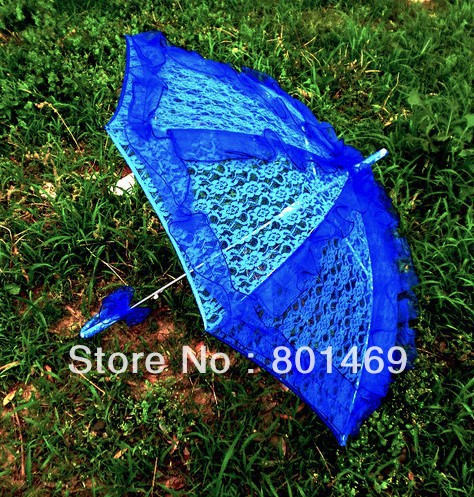 2013 Hot Blue Lace Parasol/Umbrella For Wedding Or Bridal Shower Table Decor In Stock(China (Mainland))