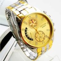 Free shipping Wholesale price fashion big Dial Luxury Brand Gold Quartz Wrist Watch for men Top Quality
