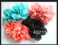 2013 New arrival-200$ free ems shipping (60pcs/6colors) about 4 inch fabric DIY chiffon flowers brooch flower applique
