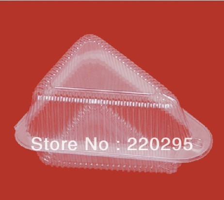 Free Shipping triangle plastic sandwich box, plastic cake packaging box, 14x12x7.6(h)cm,100pcs/lot,Wholesale(China (Mainland))