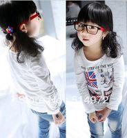 Best selling!!girls print t-shirt long sleeved baby girl tops children leisure t-shirt free shipping