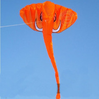 Hot Sale 4m Elephant Airfoil Kite Orange/Blue Chinese Kite Soft Kite  Easy Carry no skeleton