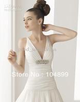 Wholesale - Cheap White Elegant Wedding Dresses High Quality V-Neck Organza Pleat Sash Open Back Court Train full Size