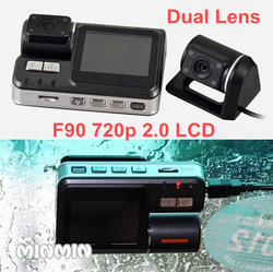 Night vision car dvr video 2.0&#39;&#39; hd 720p LCD Camera f90 LEDs 140degree wide angle dual lens with emergency lock key freeshipping(China (Mainland))
