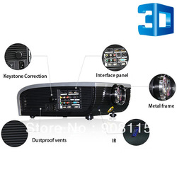 US Ship 3D HD 1080P LED Projector 2*HDMI 2*USB Home Theater WII PS3 DVD XBOX36 TV WHITE 1080P LED 3HDMI 2USB 3D PJ0247(China (Mainland))
