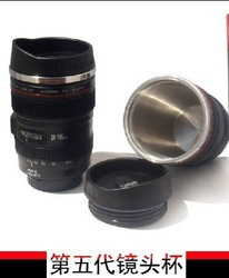Five Generation stainless steel liner travel thermal Coffee camera lens mug cup 400ML Black free shipping Dropshipping HG127(China (Mainland))