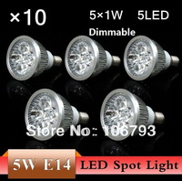 10pcs/lot Dimmable LED Lamp E14 5X1W 5W=55W Halogen Bulb Light Bulbs High Power light LED Spotlight Free shipping