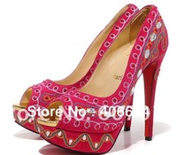 Free EMS/DHL Brand Newest PINK nation style Super 140mm High Heel Shoes PINK with Red Soles DRESS SHOES