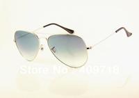 Free shipping Hot sell Designer sunglass Brand sunglass men's/woman's Fashion Silver sunglass Grey gradient lens 58mm case box