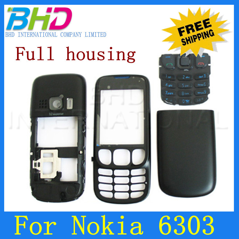 High quality Brand new For Nokia 6303 Full Housing Cover Case with original Keypad.free shipping(China (Mainland))