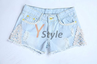 Hot-Selling 2013 Spring Summer Blue Jeans Low-waist Shorts Denim Jeans Short for Women with Lace Decoration 6 Size for Choose