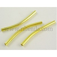 Iron Tube Beads,  Curved,  Golden Color,  about 2mm in diameter,  30mm long,  hole: 1.5mm