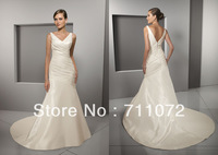 Free Shipping Custom Made Mermaid Chapel Train Taffeta Pleats V Neck Back Ivory Wedding Dresses 2013