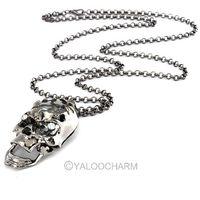 Fashion Chic Punk Rock Gun Black/Gold Skull Crystal Pendant Chain Coat Necklace 60325-60326