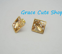 Gold Stud Earrings Famous Branded Jewelry Free Shipping High Quality Gift Package (Dust Bag,Gift Box)#HR03