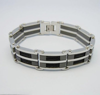 Cool Fashion jewelry for mens stainless steel bangle bracelet in silver with black wire-free shipping top qualtiy