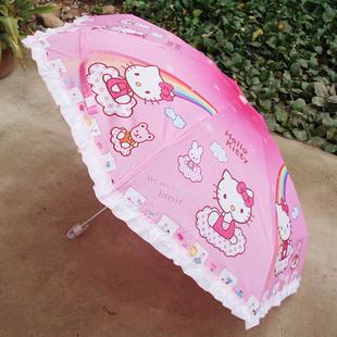 Cute Hello Kitty Cartoon Umbrella Creative Personality Kids Rain Gear Sun Beach Umbrella