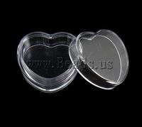 Free Shipping, Plastic Nail Box, Heart, Transparent Design, 31.8x30x15.8mm, 12PCs/Lot ,Sold by Lot