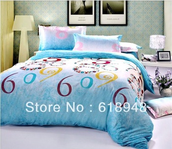 Free Shipping Fresh Number Printed Diamond Cotton Light Blue 4pcs King/Queen Bedding Set/Duvet Cover/Bed Sheet/Pillowcase W0032