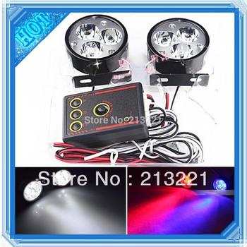 18W Fog light for Car daytime running with Red Blue Strobe flash Warning Police light Universal 12v led flash light Motorcycle