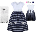 2013 new arrival,  girl high quality striped  fake diamond formal dress, princess fairy party dress, free shipping