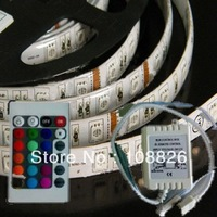 Free shiping DC12V 5M Flexible RGB LED Light Strip 5050 SMD 500cm 60leds/Meter WATERPROOF white PCB