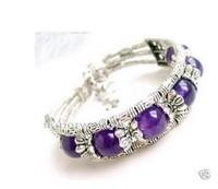 Jewellery pretty real tibet silver amethyst bracelet