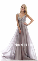 High quality!custom made! A-line Floor length Chiffon Applique prom party gowns evening  Dresses 2013
