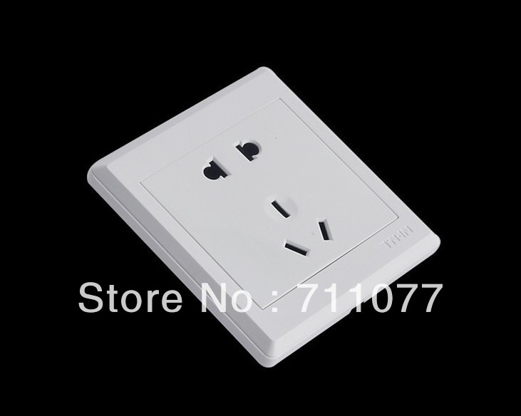 Free Shipping, switch sockets five holes multifunction White wall Power Socket Panel outlet, 190-250V 10A(China (Mainland))