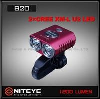 1 Set Niteye B20 Bike Lamp 2x Cree XM-L U2 LED 1200LM IPX-8 MTB Headlight Bike Front Light Headlamp+Remote RED