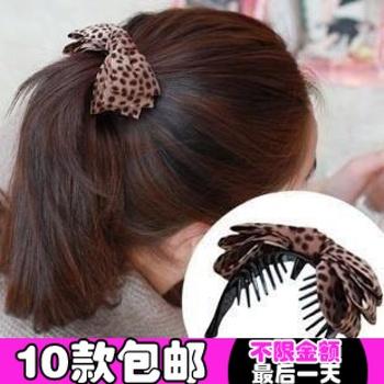1975 hair accessory hair accessory fabric leopard print bow gripper clip banana clip hair clips