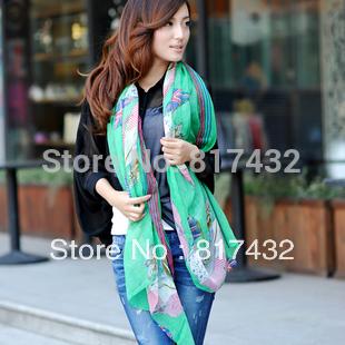 2014 fashion American flag long design silk scarf large green sun-shading scarves skull cape women's shawl free shipping(China (Mainland))