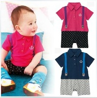 New arrival summer 2013 100% turn-down collar cotton print suspenders short-sleeve baby one piece romper