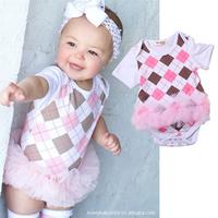 Baby clothes short-sleeve o-neck trigonometric romper infant plaid gauze skirt short-sleeve romper summer bodysuit