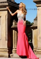 High quality! 2013 new arrivals sweetheart Satin heavy beaded red Mermaid prom dresses prom party gown ship put within 12days