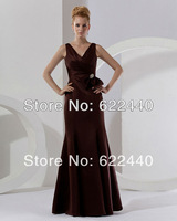 New Arrival Good Quality Fashion V-Neck  Floor-Length Bridesmaid Dresses Free Shipping