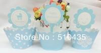 Free shipping ! 2 inch cupcake box Blue series.cupcake wrapper .cake cup . cake Surrounding edge