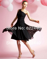 Free shipping!2013 Newest Design A-Line One Shoulder Knee-Length Satin & Chiffon Bridesmaid Dress