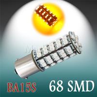 4pcs 1156 BA15S 68 SMD White / Amber / Yellow Tail Fog  68 LED Car Light Bulb Lamp External Lights External Lights p21w led