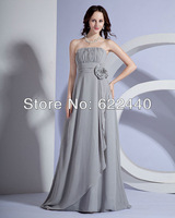 Free shipping New style High-quality A-Line Chiffon Beautiful Hand Flower Floor Length Bridesmaid Dress Gown