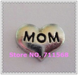 MOM On Heart Floating Charm Family Italian Charm MOM DIY Pendants For Floating Locket Accessories(China (Mainland))