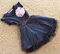 Dark blue short sleeve dots stripe flower kids girls fashion dresses with belt girl dress 2013 summer 5pcs/lot wholesale
