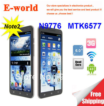 2013 DHL fast Free shipping 6 inch Note 2 Android 4.0 Smart Cell Phone N9776 MTK6577 Dual Core 1.2GHz 512MB 4GB 3G GPS Wifi