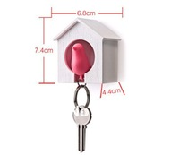 4 pcs/lot Sparrow Key Ring with Birdhouse Keychain Gadget