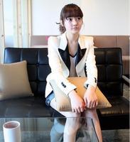 Spring fashion women's 2013 casual turn-down collar white elegant small suit jacket slim
