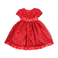 Red child spring and autumn female short-sleeve child princess dress puff skirt one-piece dress costume dress 90 - 135