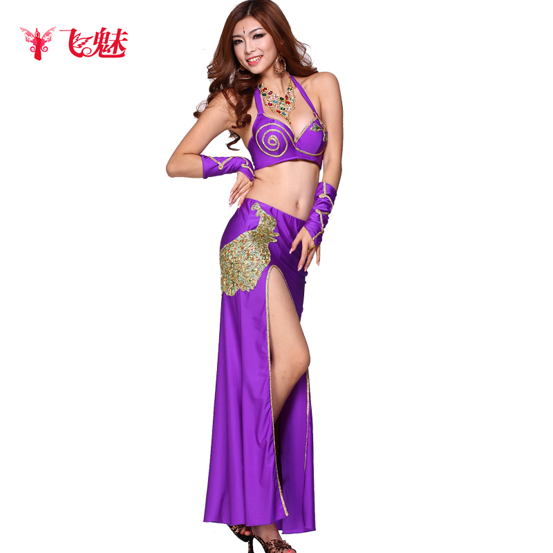 Quality belly dance costume sexy peacock embroidery piece set clothing(China (Mainland))