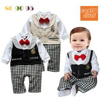 Male child bow tie vest 2 long-sleeve romper style bodysuit
