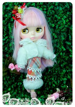 Blythe blythe doll clothes luxury 147 slanting stripe set spring new arrival
