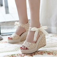 Summer wedges platform  sandals/ lace belt bow flat open toe high-heeled shoes